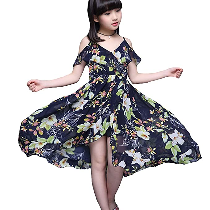57fc37e0d37 Amazon.com  BANGELY Kids Baby Girls Off-Shoulder Straps Dress Floral ...