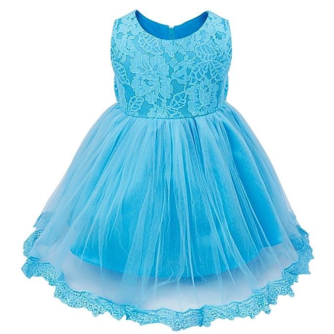 YIZYIF Flor Vestido Niña Tutú Sin Mangas Encaje Lace Vestidos De Pricesa Para Bebé Niñas 3