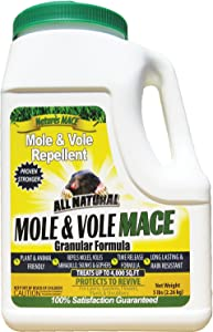 Nature's Mace Mole & Vole Repellent 5 Lb Granular/Covers 4,000 Sq. Ft. / Keep Moles & Voles Out of Your Lawn and Garden/Guaranteed to Repel Moles/Safe to use Around Home, Children, Plants