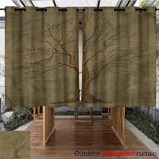 Sunnyhome Cortina para Puerta corredera, diseño de Roble, con patrón de bellotas para Sala de Estar: Amazon.es: Jardín
