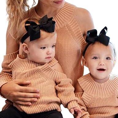 Mutter und Tochter Familie passende Pullover Mädchen Frauen stricken ...