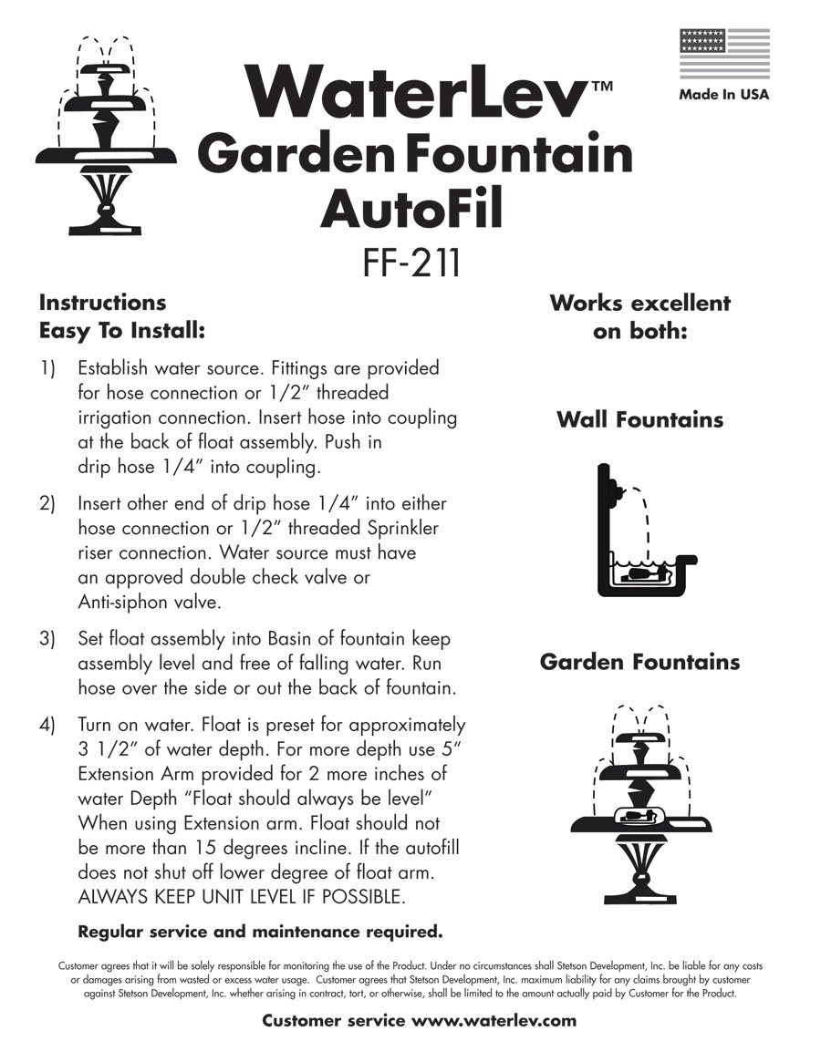 Maintains the Water Level in your Fountain WaterLev Auto Fill ...