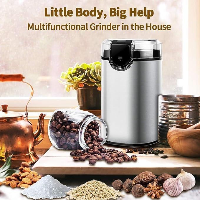 3 oz r/ápido y bajo Amoladora Negro,Burr Grinder Weike Especias y Molinillo de caf/é el/éctrico con Cuchillas de Acero Inoxidable 85 g