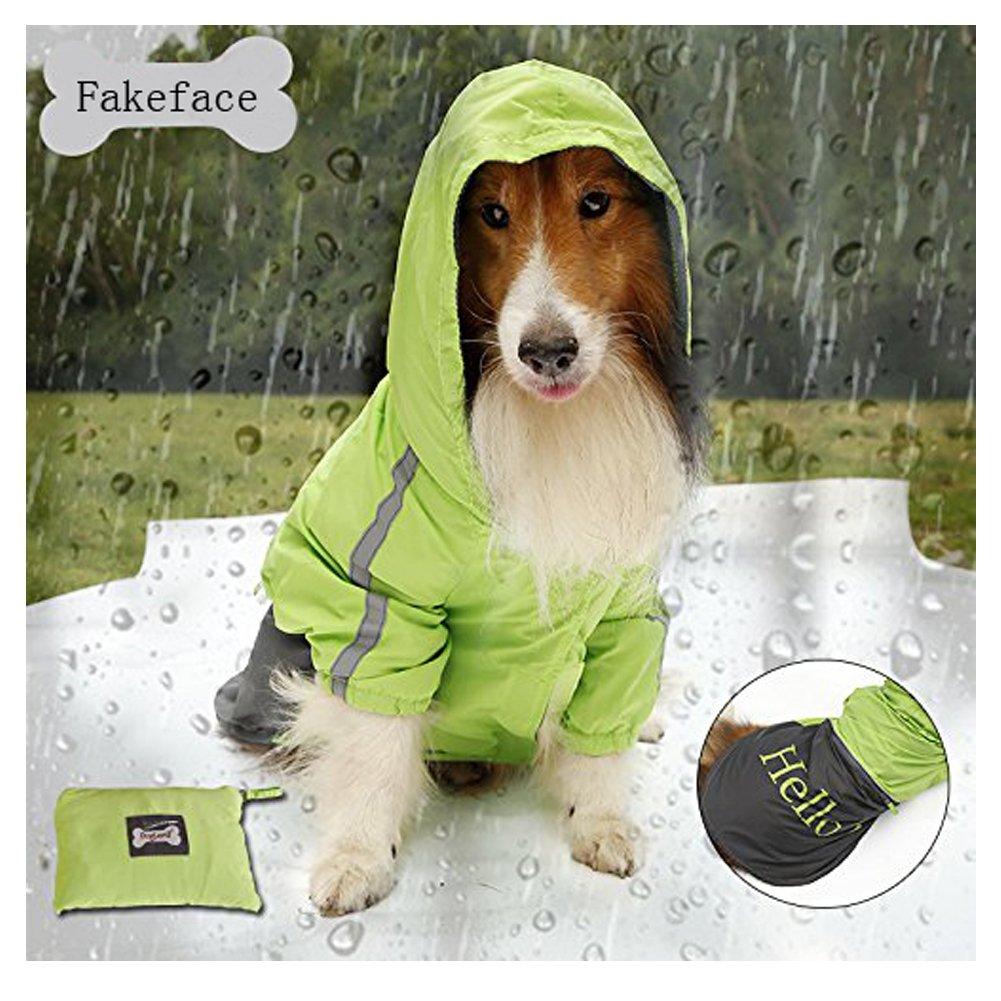 Fakeface Portable Rain Waterproof Foldable Hoodie Raincoat for Medium to Large Pet Dogs Rainy Days Coat Rainwear Poncho Night Reflecting Jacket Slicker Clothes (Green, XL)