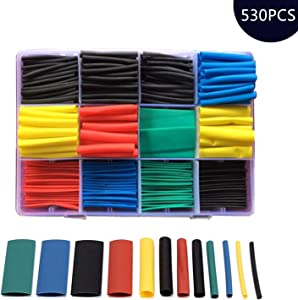 NRC&XRC530pcs Heat Shrink Tubings2:1 //Wire Wrap Cable Sleeve Sets, Electrical Insulation Tubes, 5 Colors 12 Sizes