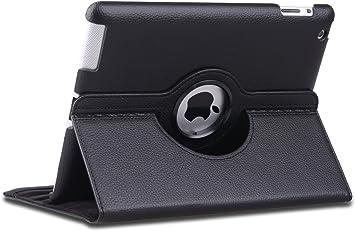 Cubierta tipo piel giratoria 360 y estuche de soporte color negro para el iPad 2, 3 y 4: Amazon.es: Electrónica