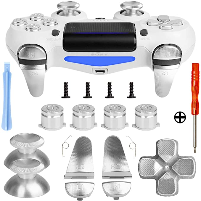 Z&Hveez Metal Buttons for PS4 Controller Gen 2, Metal Aluminum Bullet  Buttons & L1 R1 L2 R2 Triggers & D-pad & Thumbsticks Replacement Kit for  PS4
