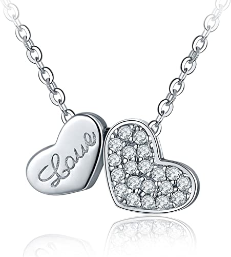 Elegant Silver Necklace with CZ Solitaire Eternal Love Necklace Stunning Silver Necklace with Amethyst Pendant.