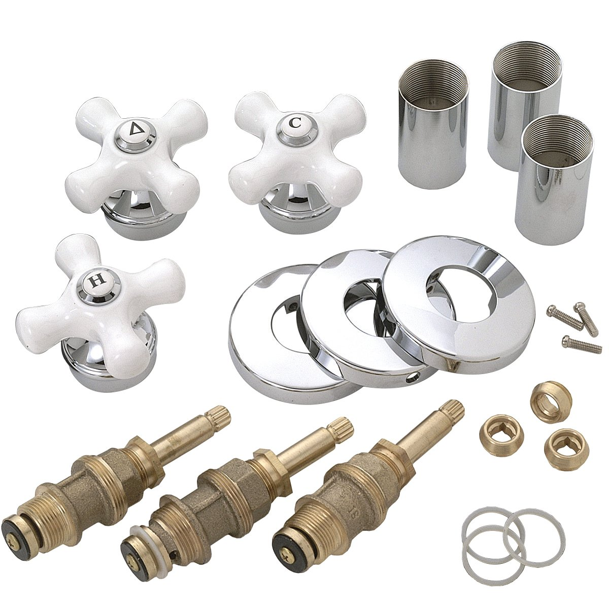 BrassCraft SK0268 Tub and Shower Rebuild Kit for Price Pfister Faucets with Cross Handles, White and Chrome by BrassCraft Mfg (Image #1)