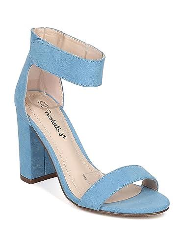 f6c019bb343 Women Faux Suede Open Toe Ankle Strap Block Heel Sandal GH01 - Blue (Size