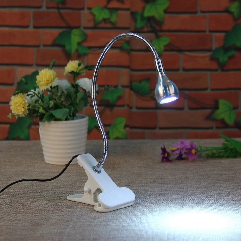 1pc Flexible Portable Clip-on Book USB LED Light Bed Table Desk Reading Lamp Black-white light
