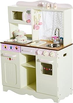 HOMCOM Cucina Giocattolo per Bambini con Accessori Legno 71 × 30 × 97.5cm