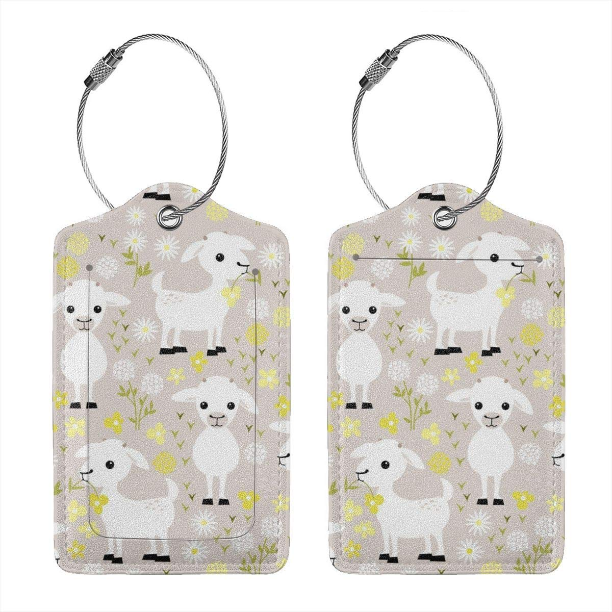 Baby Goats Luggage Tag Label Travel Bag Label With Privacy Cover Luggage Tag Leather Personalized Suitcase Tag Travel Accessories
