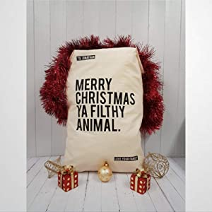 DONL9BAUER Personalized Home Alone Christmas Sack Large Santa Bags with Drawstring Burlap Presents Bag Xmas Holiday Present Wrap