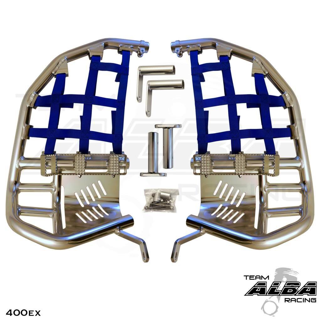 1999-2014 Silver Bars w//Black Net Compatible with Honda Propeg Nerf Bars TRX 400EX SPORTRAX