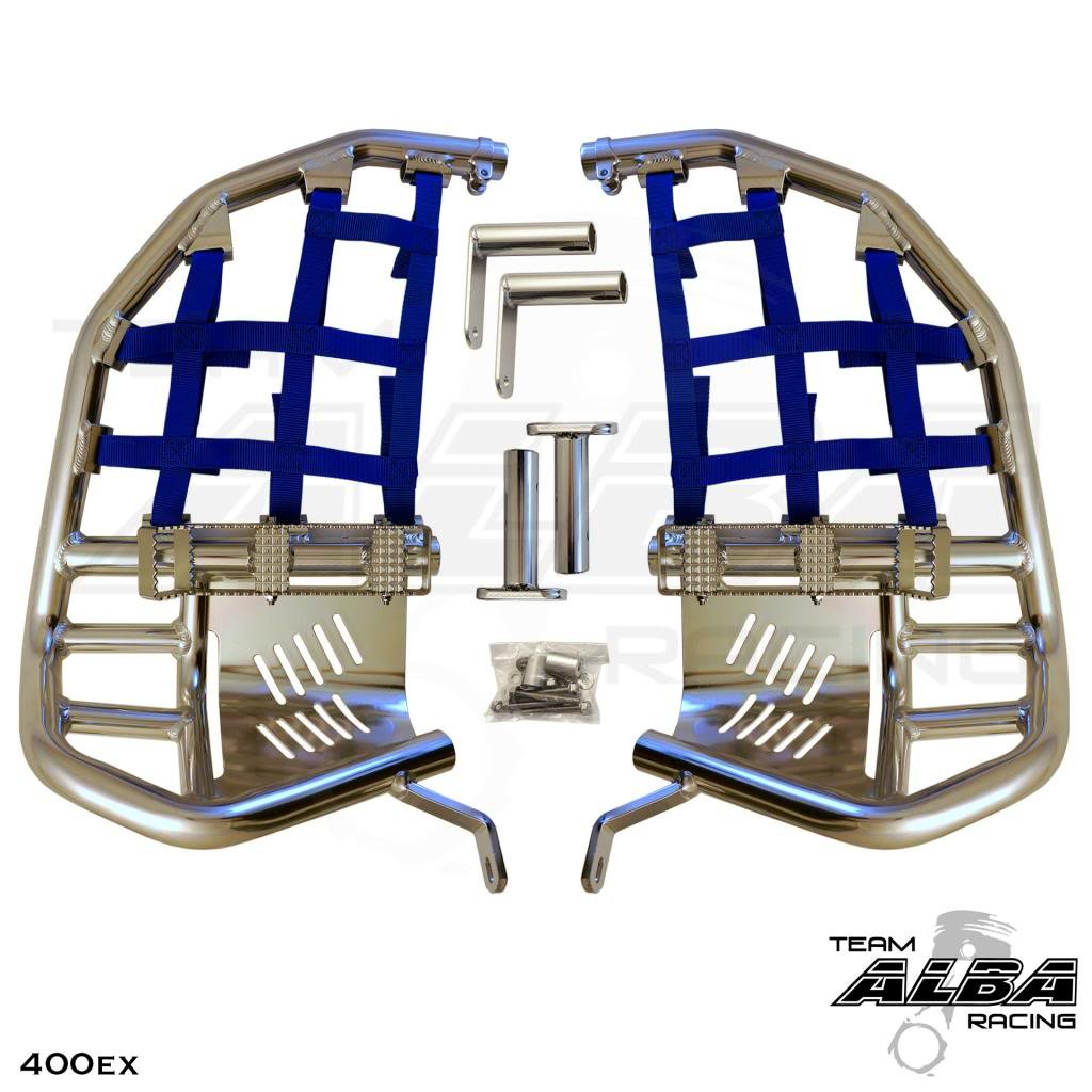 TRX 400EX SPORTRAX (1999-2014) Propeg Nerf Bars - Compatible with Honda - Silver Bars w/Blue Net