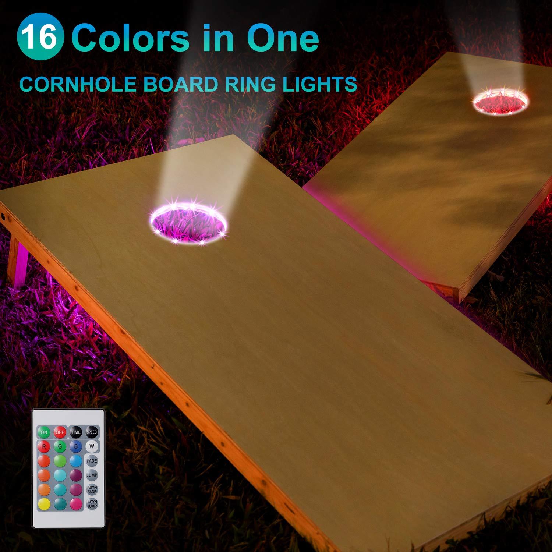 2 Sets 16 Colors Change Cornhole Board Ring LED Lights with Remote Control for Family Backyard Bean Bag Toss Cornhole Game Frienda Cornhole Lights