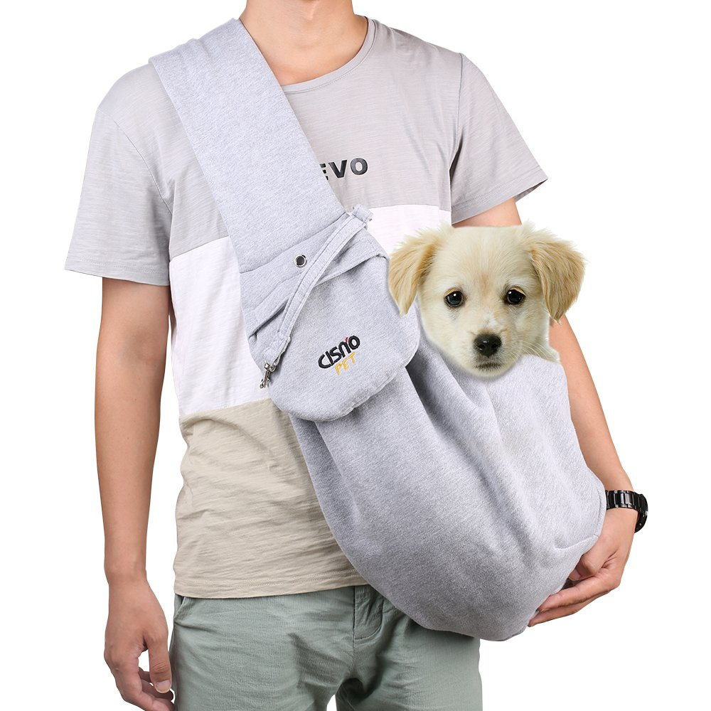 CISNO Adjustable Pet Dog Sling Travel Carrier Bag For Small Dog Cat Puppy 5-14 Lbs-Cotton Fleece Fabric