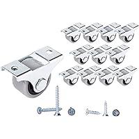 (Pak van 12) 25 mm rubberen wieltjes plastic wieltjes metaal met plaat Meubels Apparaten en uitrusting Kleine mini…