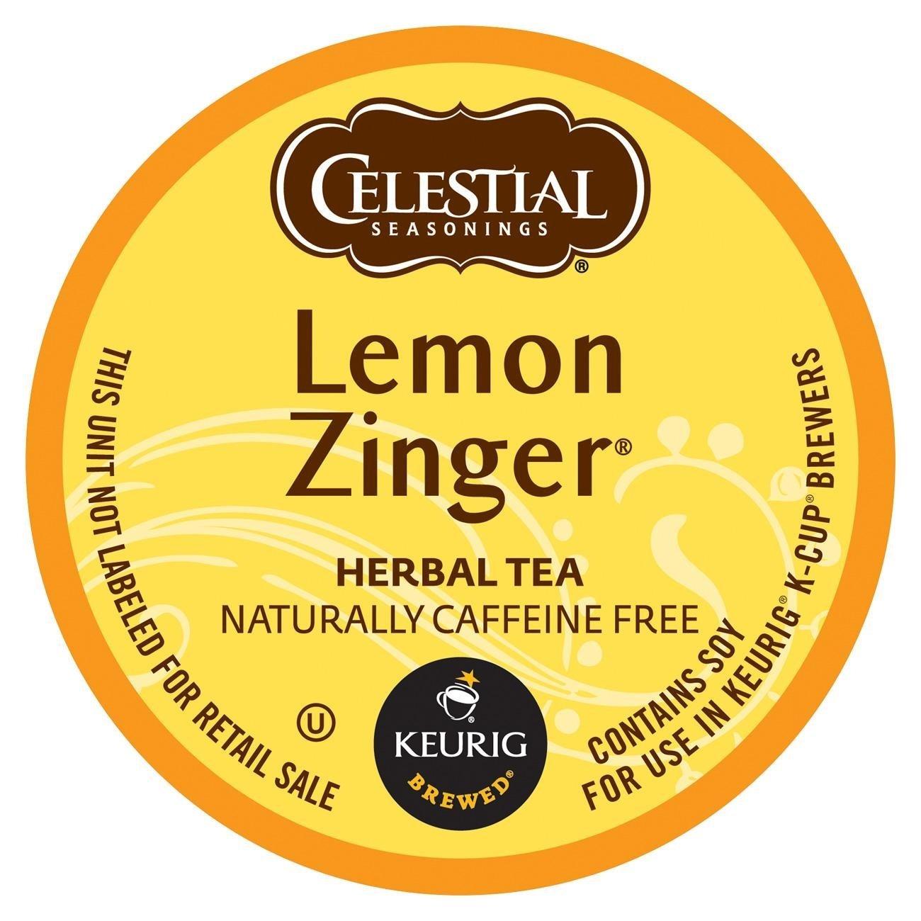 Celestial Seasonings Lemon Zinger Herbal Tea, K-Cup Portion Pack for Keurig K-Cup Brewers, 24-Count by Celestial Seasonings