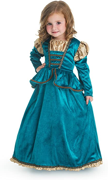 Large Age 5-7 Little Adventures Beauty Day Princess Dress Up Costume with Hairbow /& Matching Doll Dress