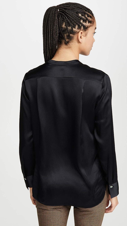 Vince Women's Silk Slim Band Collar Blouse Black Black