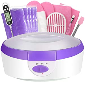 Paraffin Wax Machine for Hand and Feet - Ejiubas Paraffin Bath Quick Heating 2500ml Paraffin Wax Warmer with Paraffin Wax Refills Thermal Mitts Gloves Moisturizing Kit Hand Wax Spa Purple