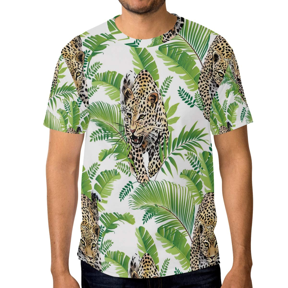 Cute Leopard in The Jungle Mens T Shirts Graphic Funny Body Print Short T-Shirt Unisex Pullover Blouse