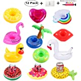 redting 12 Pack Inflatable Drink Holders+1 Inflatable Needle+1 Storage Bag,Drink Floats Inflatable Cup Coasters for Kids Toys