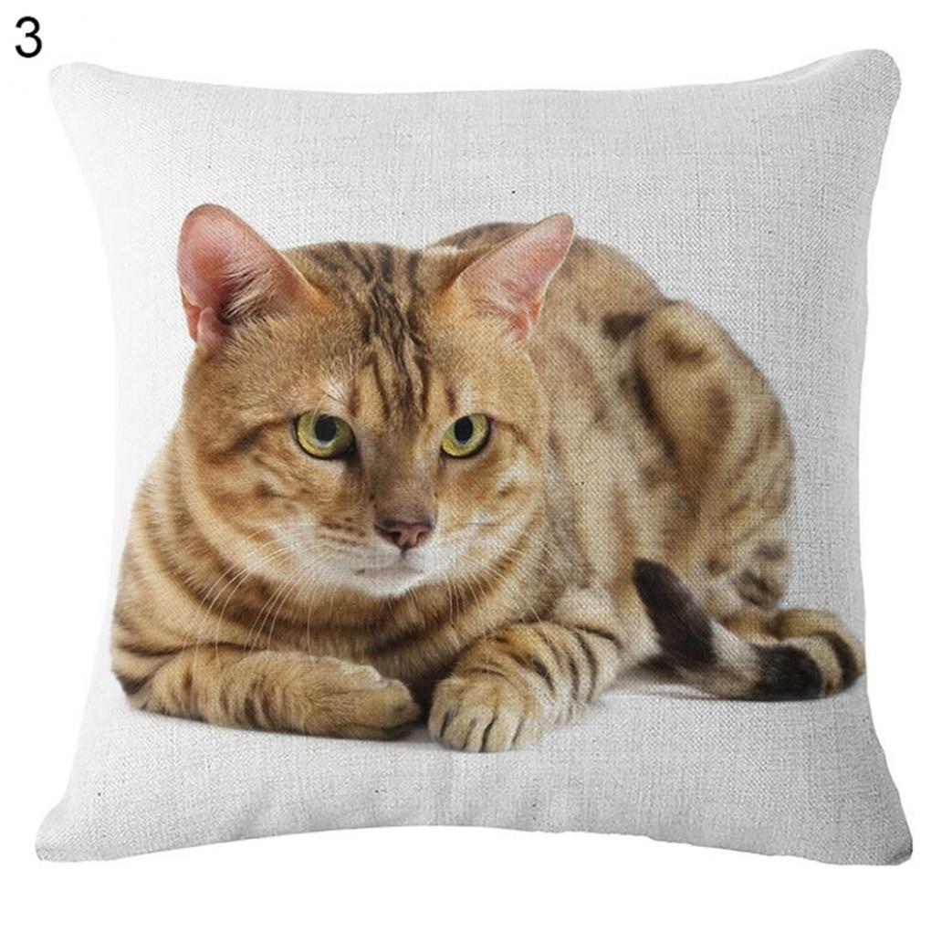 Jolie housse de coussin avec motif représentant un chat - En lin - Pour canapé, maison, voiture, #2, Taille unique Pengyu