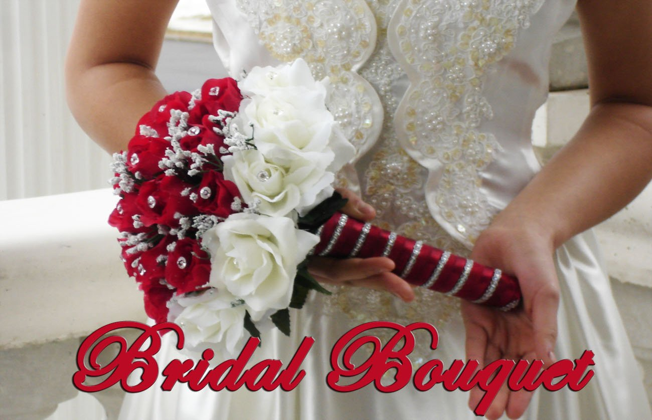 Amazon wedding bouquet bridal package bridesmaid groom amazon wedding bouquet bridal package bridesmaid groom boutonniere corsage silk flowers love cecilia red cream izmirmasajfo Images