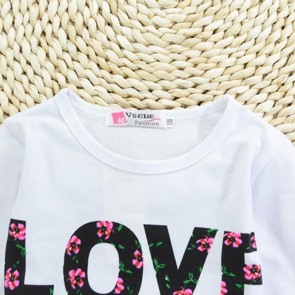 11afbd77e ❤ Amlaiworld Ropa niña de Verano Camiseta Tops Chaleco sin mangas impreso  Love letras de Bebé Niñas Chicas + Falda ...