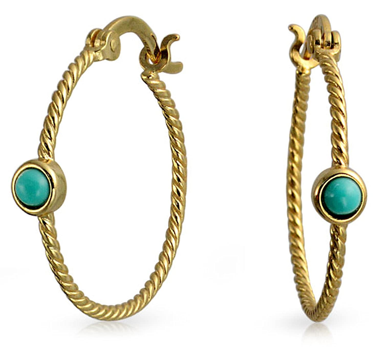 6e1862749 Amazon.com: Twisted Cable Rope Thin Hoop Earrings Turquoise Accent for  Women 14K Gold Plated 925 Sterling Silver 1 Inch Dia: Jewelry