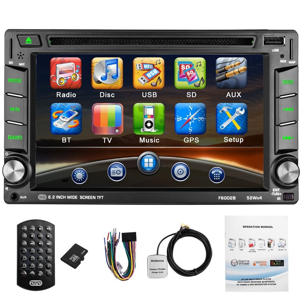 CATUO Double Din Stereo, Win CE Operation System with Bluetooth/DVD/Radio/USB/TF/AUX,6.2 inch HD Touch Screen with GPS Navigation,Rear view Camera Supported by CATUO
