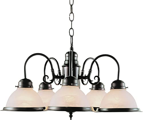 Bel Air Lighting Trans Globe Imports 1092 ROB Traditional Five Light Chandelier from Baldwin Collection Dark Finish, 23.00 inches, Rubbed Oil Bronze