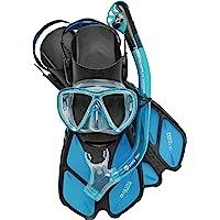 Cressi Adult Snorkeling Set (Mask, Dry Snorkel, Adjustable Fins) Ideal for Travel - Lightweight Colorful Equipment…