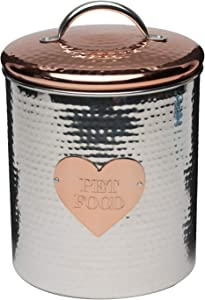 Amici Pet Rosie XL Canister, Decorative Hand Made Hammered Finish Metal Treats Storage Container, 104 Ounce Capacity