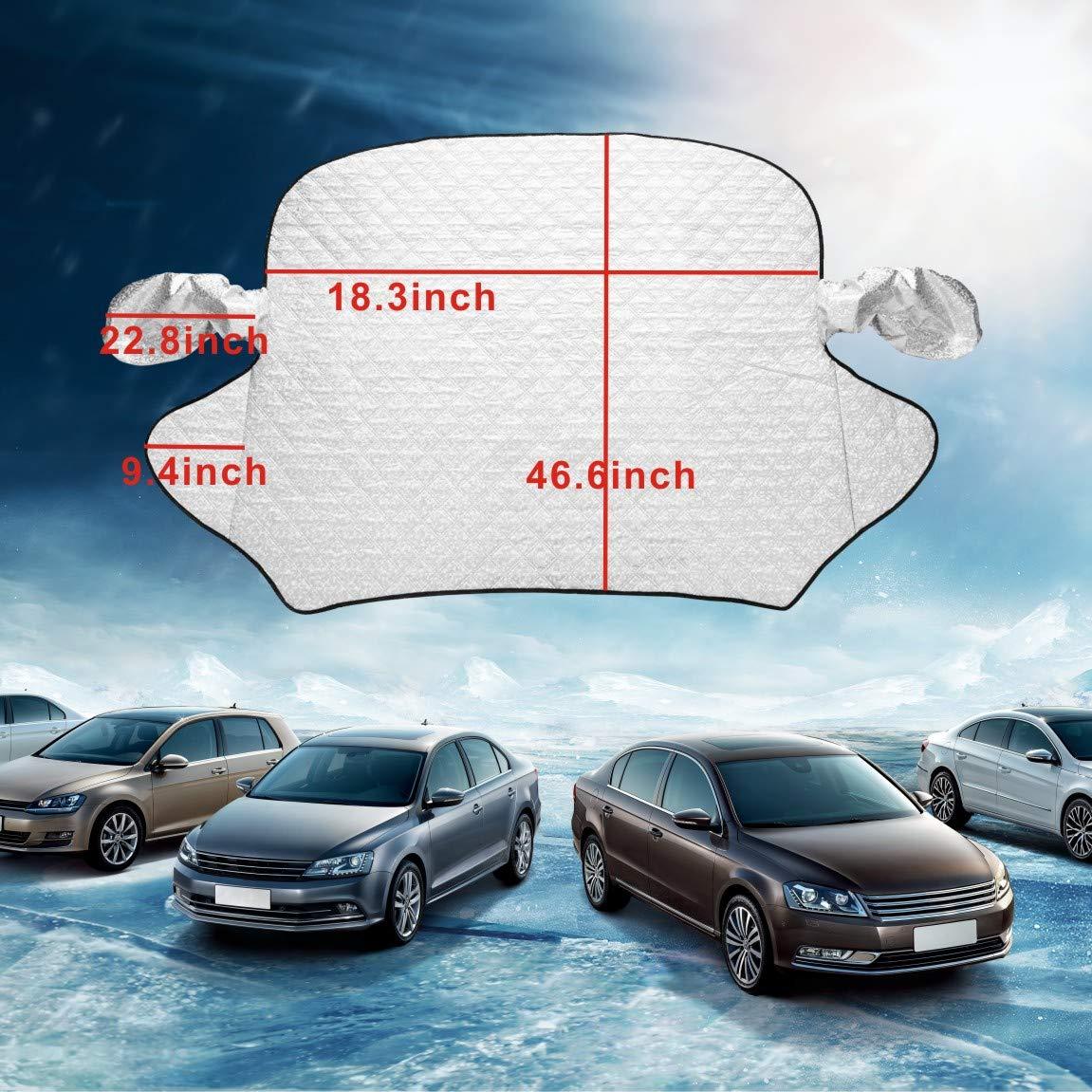 Idefair Funda Protectora para Parabrisas de Coche 59 x 47 Todos los a/ños Ideal Ultra Gruesa SUV Cubierta para Parabrisas de Invierno y Nieve Resistente al Agua para Coches Verano//Invierno