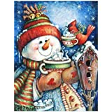 Golden Panno Diamond Painting Christmas and Halloween House Decoration Snowman Bird Cup Tea Gift Full Square Resin Rhinestone Diamond Needlework Handcraft Multi-Size (Picture Size28x36cm)