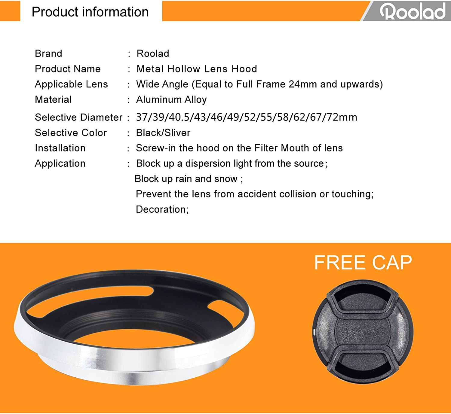 Roolad Metal Lens Hood for DSLR and Mirrorless Camera Lens Protect Accessory with Lens Cap 43mm, Silver
