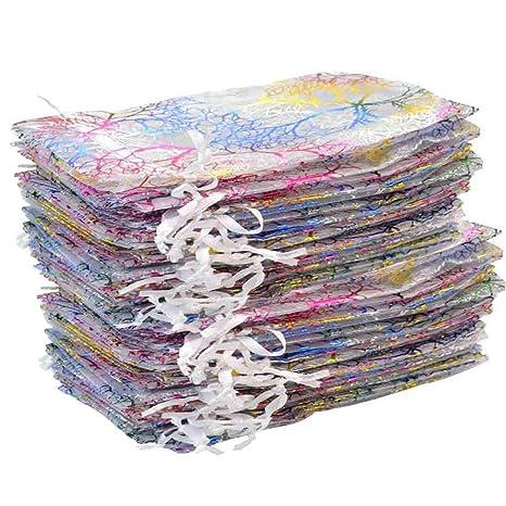 Poualss - 100 bolsitas de Organza con cordón, 9 x 12 cm ...