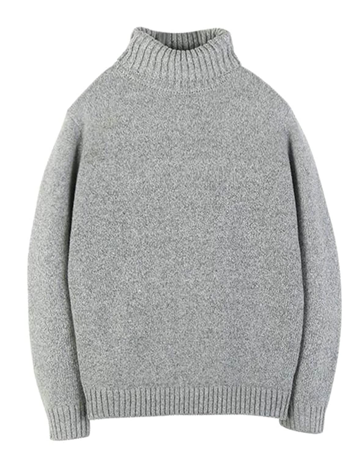 69bab679b01ff Papijam Mens Classic Fit Knitwear Mock Neck Loose Pullover Sweater