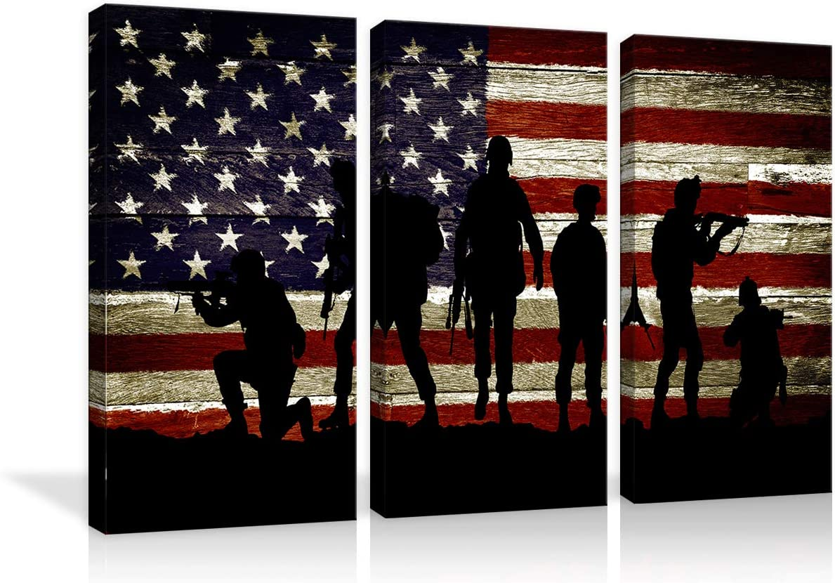 American Flag Military Soldiers Army Wall Art Canvas Prints Thin Blue Red Line 3 pcs Home Decor Pictures for Living Room Bedroom Painting Framed Ready to Hang