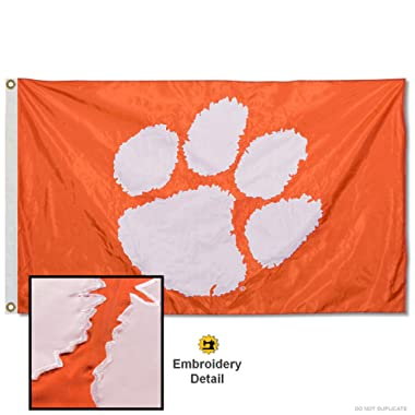 Clemson University Embroidered and Stitched Nylon Flag