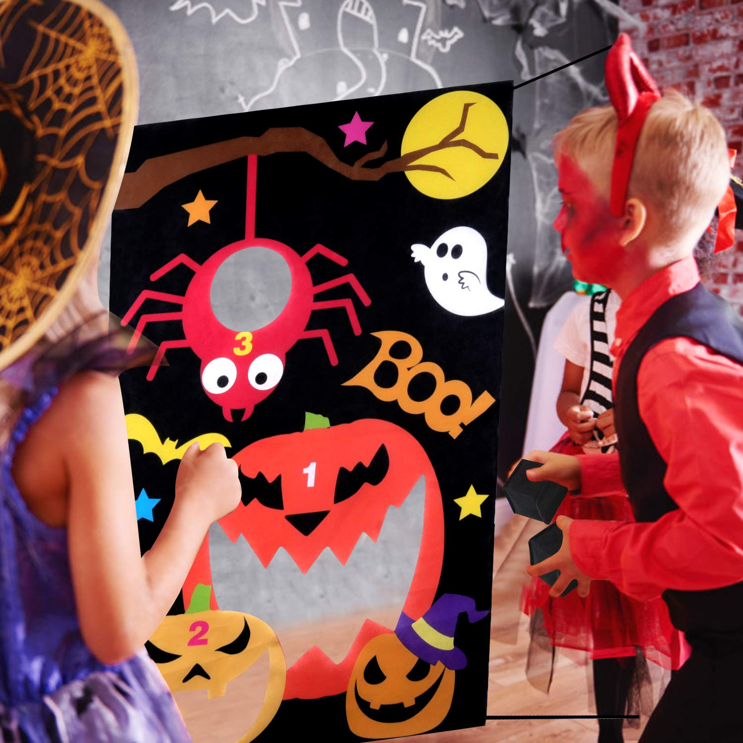 B bangcool Pumpkin Toss Game with 3 Bean Bags, Halloween Carnival Parties Games Outdoor Fun Acivities for Kids and Adults (Red)