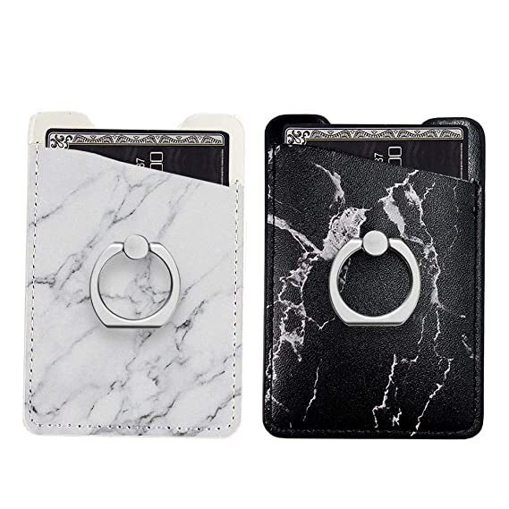 buy online 58e5e d62bb Two Pack Phone Card Holder with Ring uCOLOR Black White Marble PU Leather  Wallet Pocket Credit Card ID Case Pouch 3M Adhesive Sleeves Sticker Grip ...