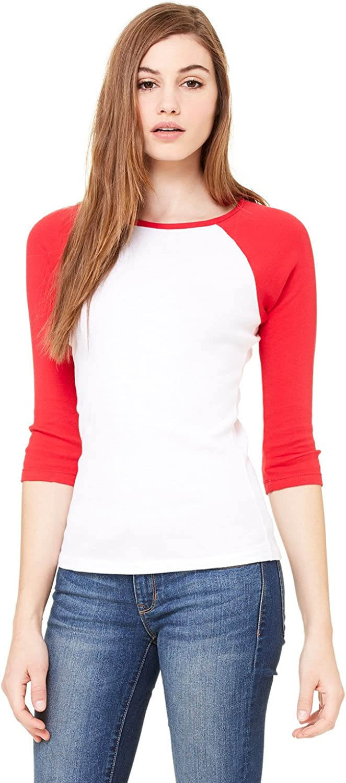 Canvas Womens Stretch Rib 3//4-Sleeve Contrast Raglan T-Shirt Bella B2000 - WHITE//RED,2XL