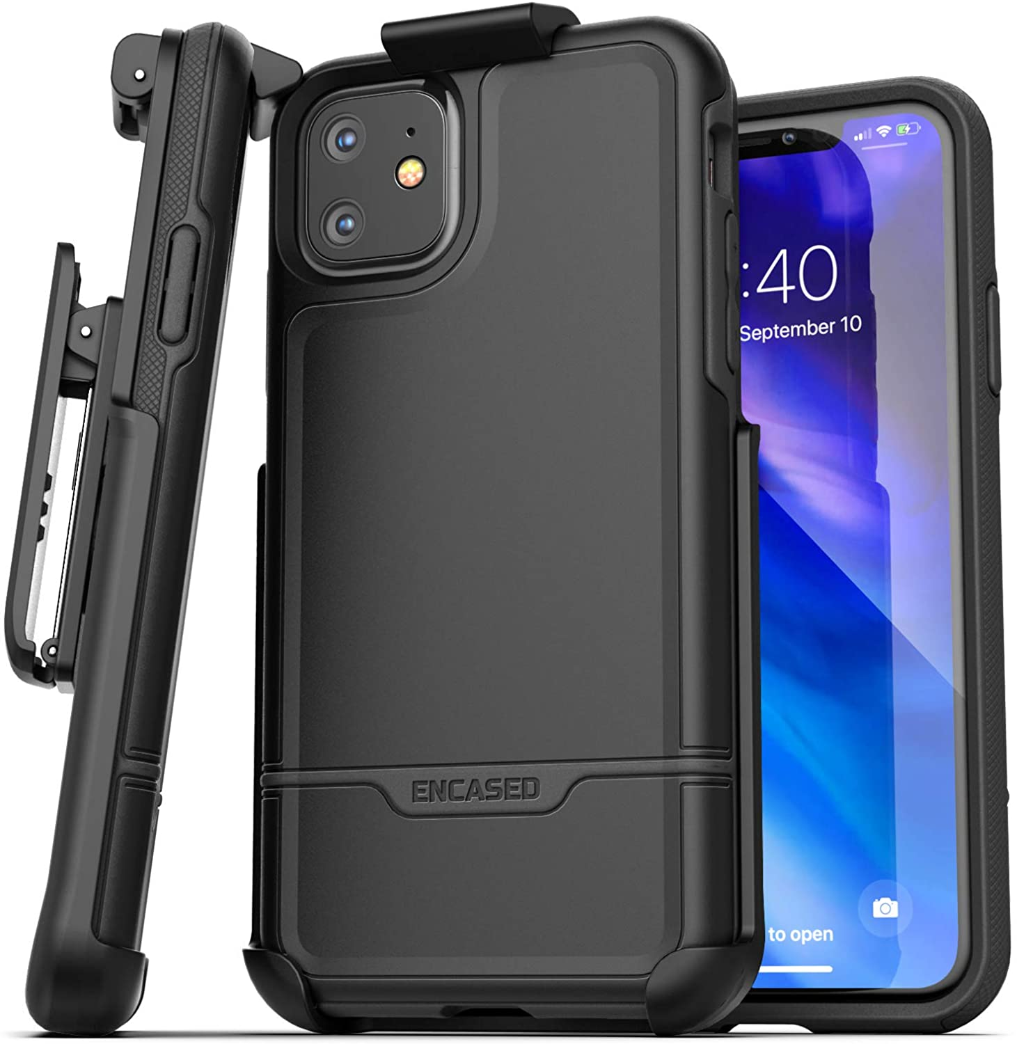 Amazon Com Encased Iphone 11 Belt Clip Holster Case 2019 Rebel Armor Heavy Duty Rugged Full Body Protective Cover With Holder Black
