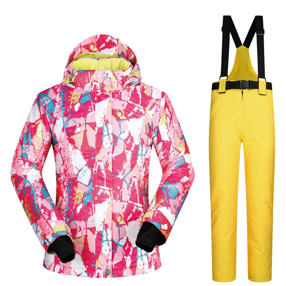 防水スノーシューズ、 スキースーツレディーススーツ冬暖かい防風防水透湿性スキースーツ (色 : 黄 pants, サイズ : XL) 黄 pants X-Large