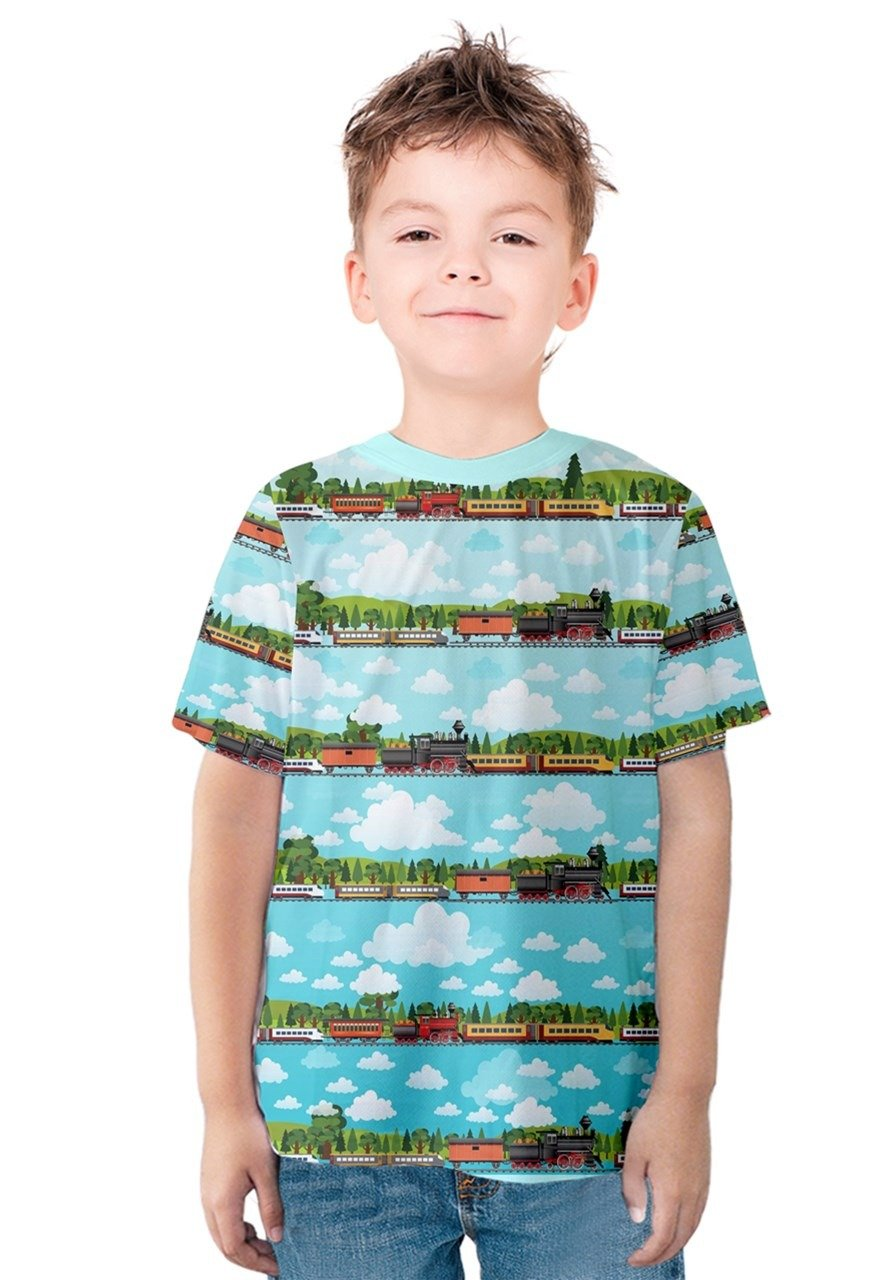 PattyCandy Boys T-Shirt Sky Blue Travel by Train Pattern Kids Cotton Tee - 10